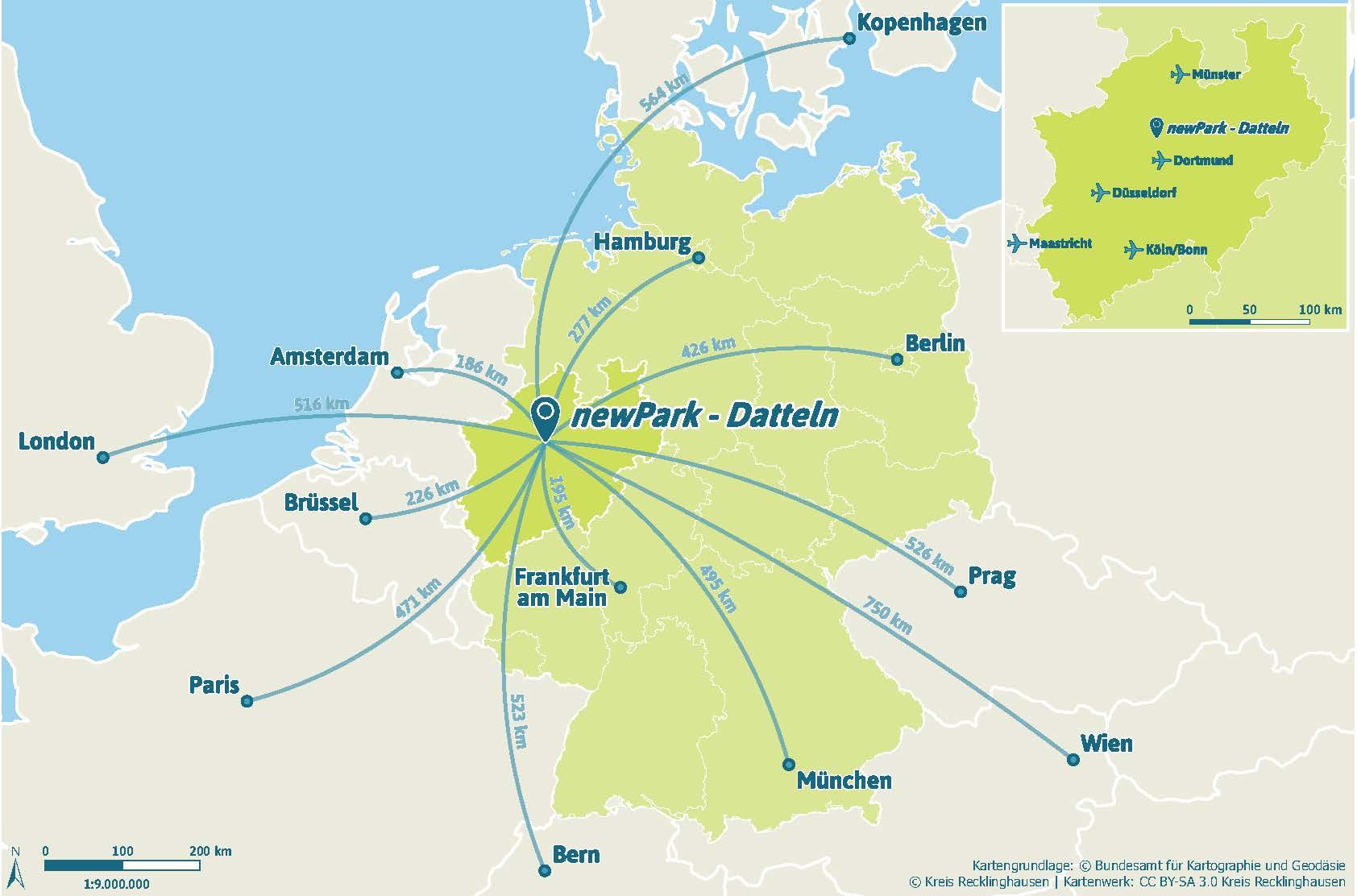 Von Datteln aus nach ganz Europa: der newPark hat eine gute Anbindung.